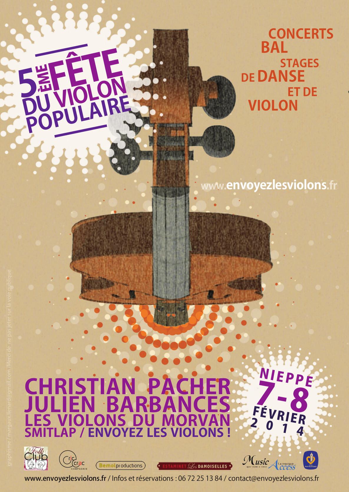 Affiche Concert dans le cadre de la 5ème fête du violon populaire à Nieppe